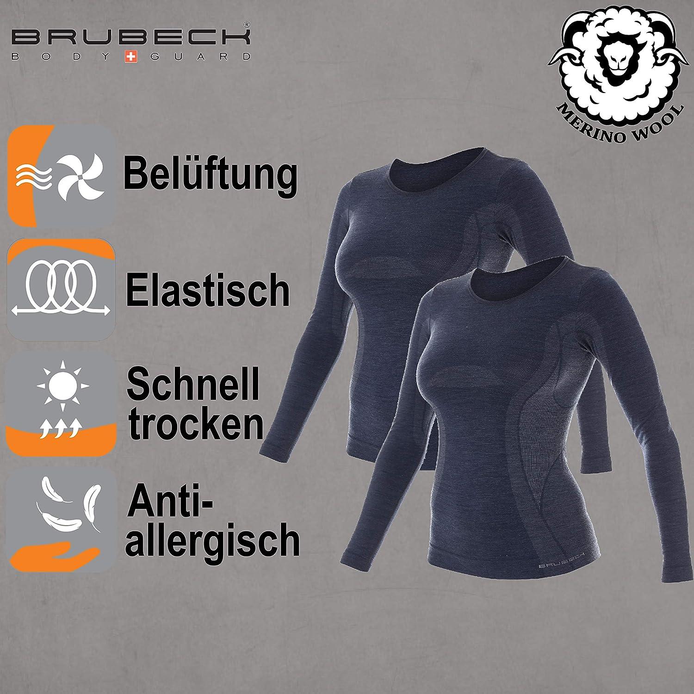Funktionsunterw/äsche Geruchshemmend Atmungsaktiv Atmungsaktiv Weich 41/% Merino-Wolle LS11610 BRUBECK Damen Funktionsshirt Langarm