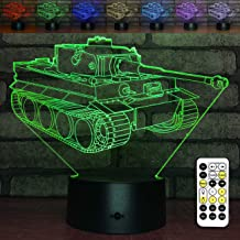 YeeSeeJee Tank,Tank 3D Night Light with Timer Remote 7 Colors Adustable Tank Toys for Boys Age 1 2 3 4 5 6 7 Year Old Boy Gifts or Girl Gifts (Toy Tank)