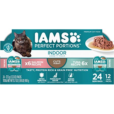 IAMS Perfect Portions Healthy Grain Free Wet Cat Food, Variety Packs, 12 and 24 Count Twin-Packs