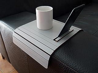 Mini tavolino laterale da bracciolo divano in legno con supporto telefono e ebook reader personalizzabile grigio sasso Pic...