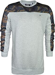 Men's Plain Fleece Sweatshirt Camouflage Print on Shoulders & Arms Long Sleeve Jumper