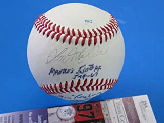 JIM LONGBORG & STU MILLER SIGNED BASEBALL ~ MICKEY MANTLE 500 536 HRs U34200 - JSA Certified - Autographed Baseballs