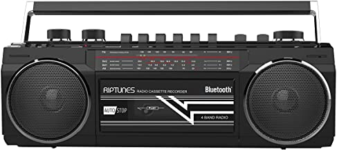 Riptunes Cassette Boombox, Retro Blueooth Boombox, Cassette Player and Recorder,..