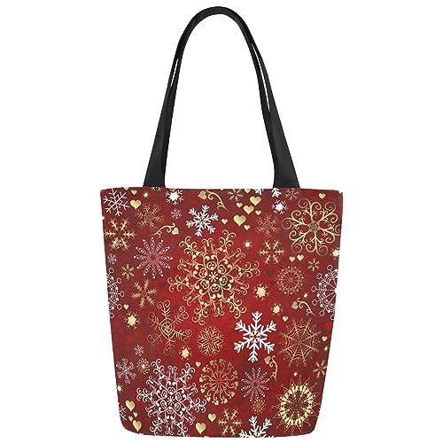 InterestPrint Christmas Snowflake Canvas Tote Bag Handbag Shoulder Bag for Women Girls
