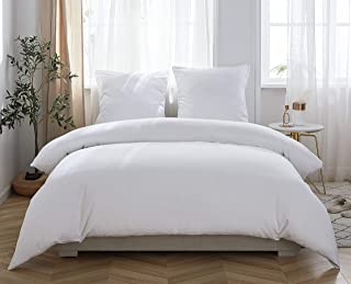 MOHAP Sets de Housse de Couette 240x260cm+2 taies d'oreillers 65x65cm Parure de Lit 2 Personnes Blanc