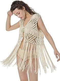 Sleeveless Crochet Long Tassels Fringe Vest 70s Cover up Hippie Clothes for Women Free Size