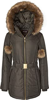Women's Down Alternative Long Belted Puffer Coat Fur Trim Detachable Hood
