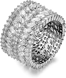 Redbarry Vintage CZ Diamond Wide Band Eternity Statement Ring 18k White Gold Plated, Size 5.5-9, Gift for Woman/Girl Love, Thanks, Valentine Day