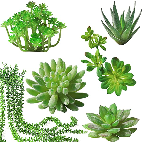Luyue Artificial Succulent Plants With Pot Realistic Fake Potted Succulents Mini Faux Greenery For Home Office Decor 6 Pack Without Pot