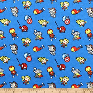 Marvel Kawaii Action Toss Bamboo Flannel Blue Fabric by The Yard
