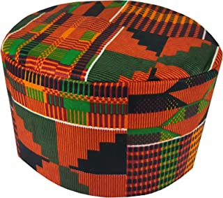 Decora Apparel African Costume Men Hats Kente Pattern Kufi Kofi Hat Cap African Hat Boys Cap Vibrant Colors