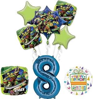 Teenage Mutant Ninja Turtles 8th Birthday Party Supplies and TMNT Balloon Bouquet Decorations