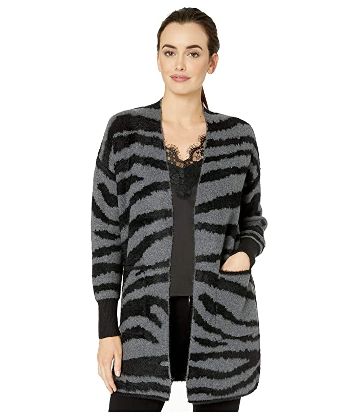 Vince Camuto  Long Sleeve Short Eyelash Zebra Two-Pocket Cardigan (Medium Heather Grey) Womens Sweater