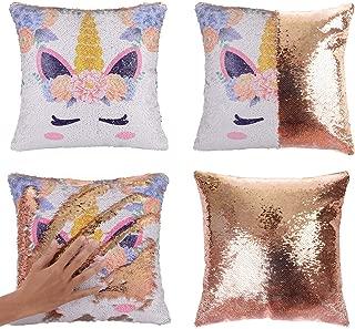 Merrycolor Unicorn Sequin Throw Pillow Cover Mermaid Magic Reversible Pillowcase Decorative Cushion Cover Unicorn Gift for Girls (Unicorn E -Gold Sequin)