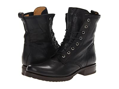 Frye Veronica Combat (Black Soft Vintage Leather) Women