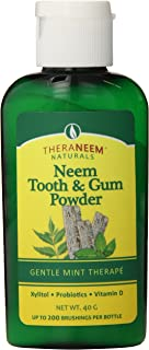 TheraNeem Tooth and Gum Powder | Supports Healthy Teeth and Gums with Probiotics, Vitamin D | Mint, 40 grams, 200 Uses