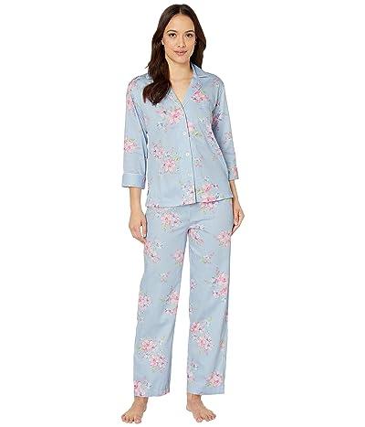 LAUREN Ralph Lauren Petite Classic Wovens 3/4 Sleeve Pointed Notch Collar Long Pants Pajama Set (Blue Check) Women