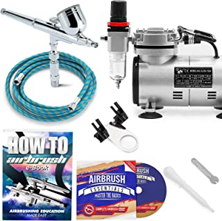 PointZero Multi-Purpose Airbrush Kit with Compressor Crafts Hobby Art Cake Decorating
