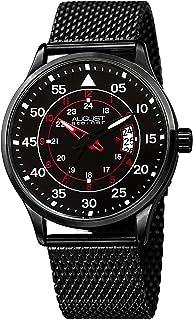 ساعة للرجال بهيكل اسود ومينا باللون الاسود والاحمر من الستانلس ستيل الاسود من اوغست شتاينر