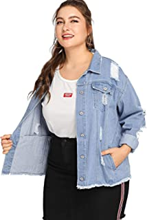 cc4427c1c9c Milumia Women Plus Size Denim Ripped Jackets Blue White Color Block  Contrast Casual Long Sleeves Pockets