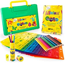 Mimtom Drawing Stencils for Kids   58 PC Stencil Kit with 370+ Shapes to Draw Imaginative Children's Stories   DIY Arts & Crafts Set for Boys & Girls with Letter, Flower, Dinosaur, Animal Stencils
