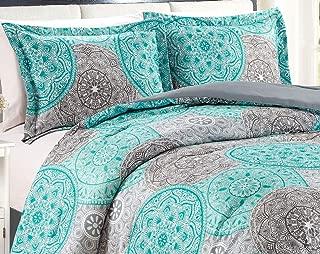 4-Piece King Size Fine Printed Comforter Set Reversible Goose Down Alternative Bedding (Aqua Blue, Grey, Medallion)