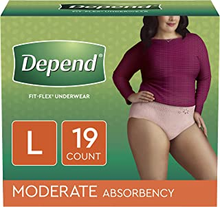 Depend FIT-FLEX Incontinence Underwear for Women, Disposable, Moderate Absorbency, L, Blush, 76 Count (4 Packs of 19)
