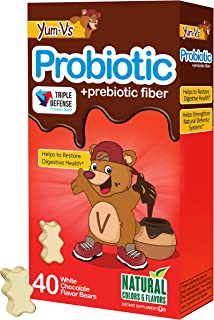 Yum-V Chewable Probiotic for Kids, White Chocolate Flavored (40 Ct); Daily Dietary Supplement w/ Prebiotic Fiber, Kosher Halal, Gluten Free