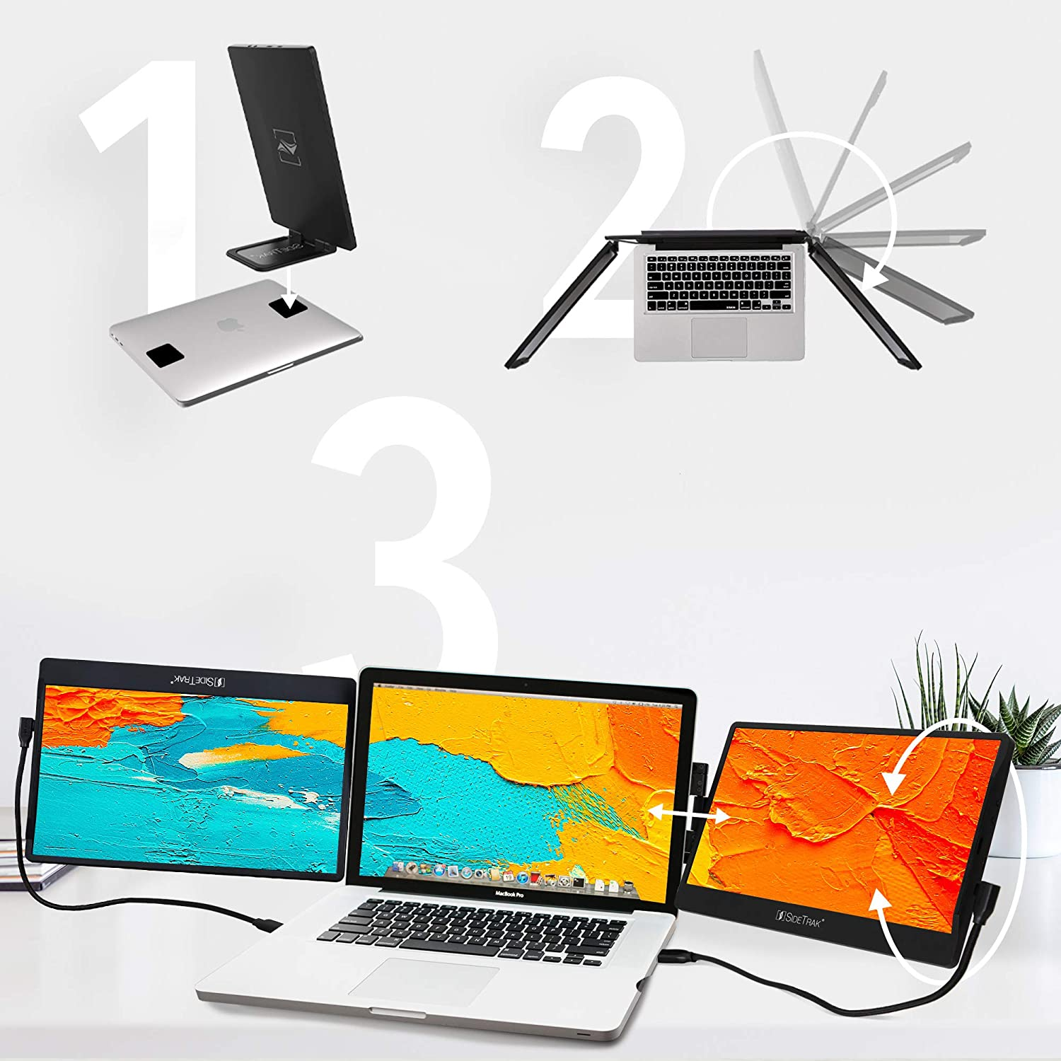 """SideTrak Swivel Triple Portable Monitor for Laptop   Attachable 12.5"""" FHD IPS Rotating Three Screen Laptop   Compatible with Mac, PC, & Chrome   Powered by USB or Mini HDMI"""
