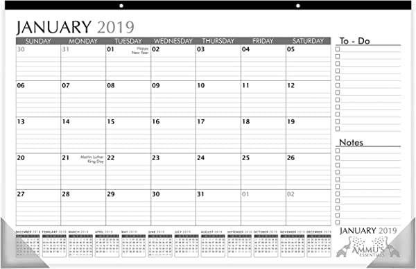 Desk Calendar 2019 With Ruled Blocks And Notes 11 X 17 January 2019 December 2019 Desk Pad For Office And Home