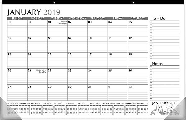 台历 2019 带分格块和注意事项的执行情况.2019年1月17日 2019年12月台垫办公和家庭