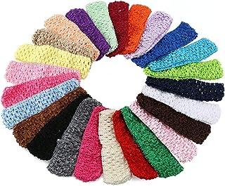 مجموعة مكونة من 50 ربطة رأس من الكروشيه المرن لإكسسوارات الشعر