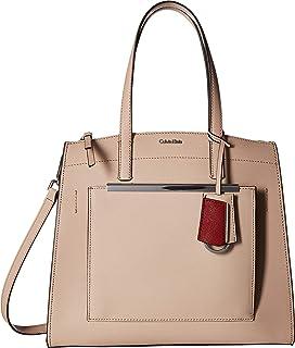 Calvin Klein Womens Mara Saffiano Leather Satchel