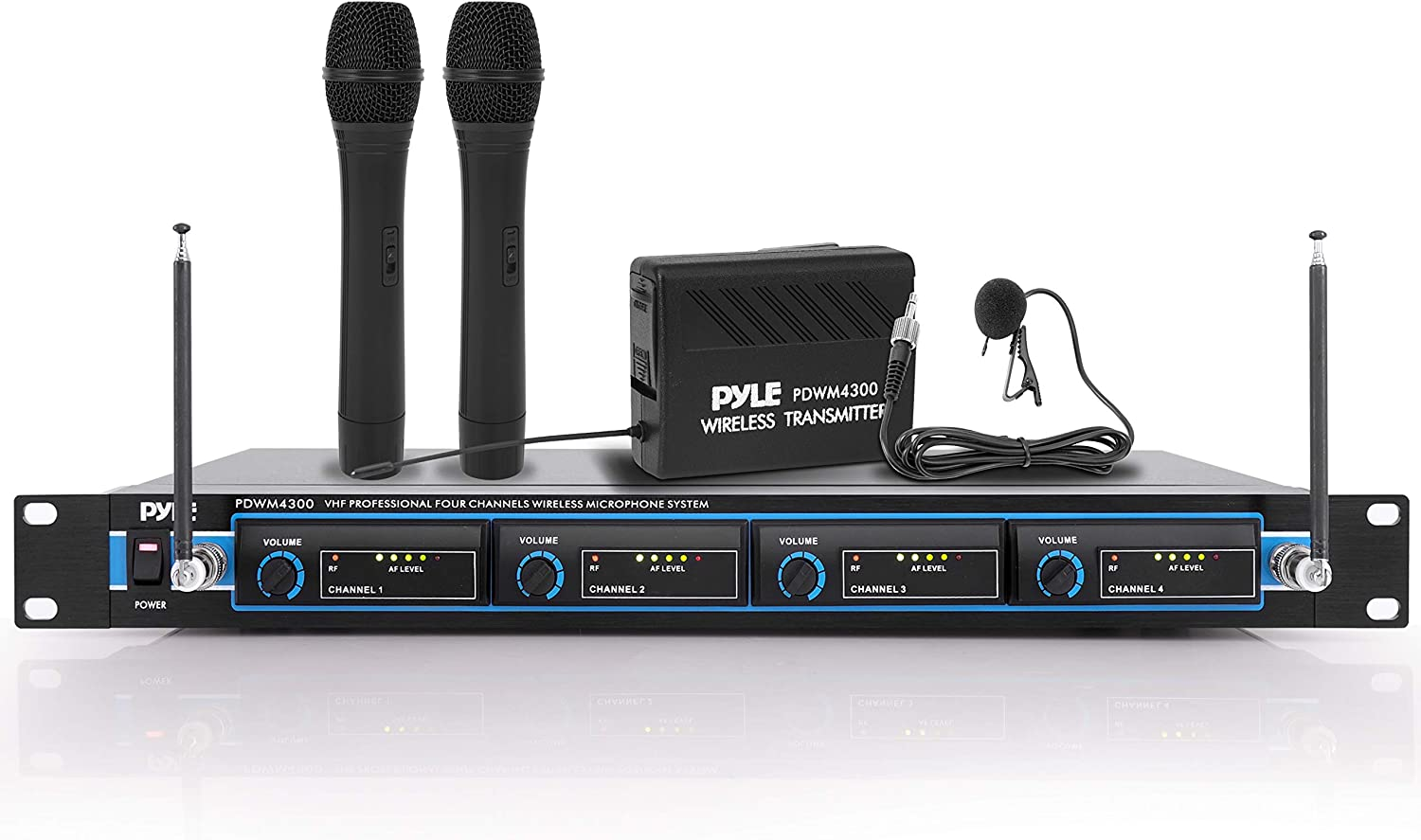 Pyle 4 Channel Our shop most popular VHF Wireless Superior Rack Mountable System Microphone B