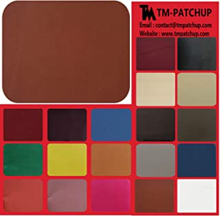 TMpatchup Genuine Leather and Vinyl Repair Patches Kit - Grain Self Adhesive Leather to Repair Furniture, Couch, Sofa, Jacket - Multiple Colors and Sizes Available (Tan Tawny, 3'' x 6'')
