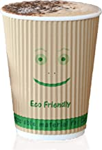 Disposable Compostable Coffee Cups – 500 Biodegradable Hot Cups with USA-Made PLA Laminate to Enhance Strength and Insulat...
