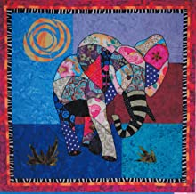 Ellie Elephant Machine Applique Quilt 35 inch by 34 inch Wall Hanging Pattern
