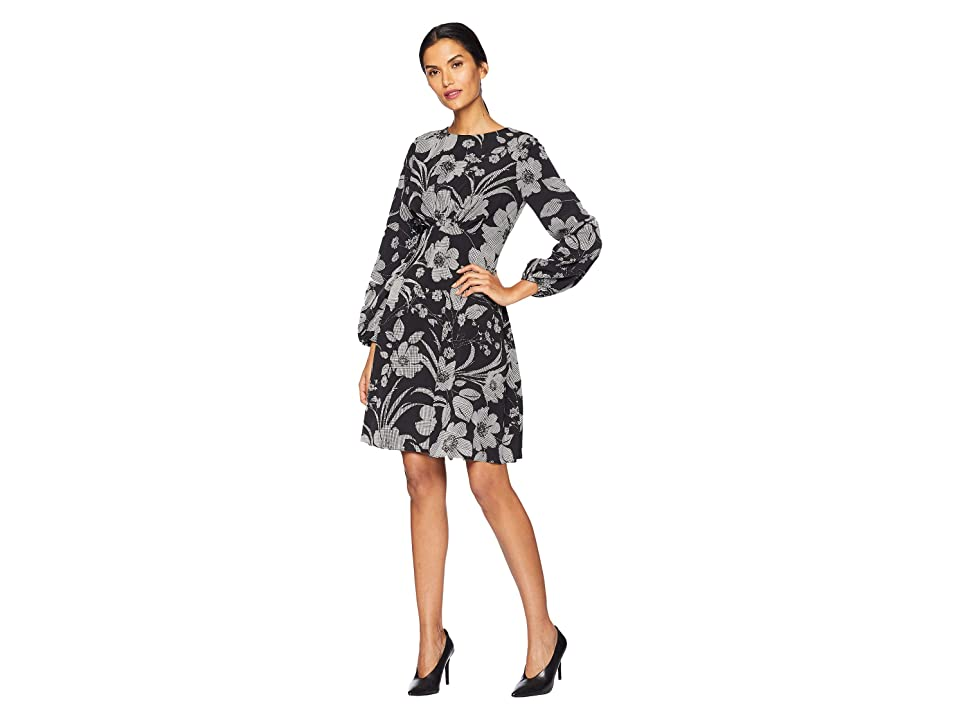 London Times Puff Sleeve Fit Flare Dress (Black/White) Women