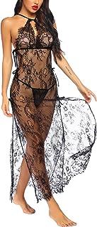 Avidlove Women Sexy Lingerie Robe Lace Babydoll Long Gown Mesh Chemise Kimono Robe