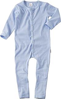 wellyou Schlafanzug, Pyjama für Jungen und Mädchen, Einteiler langarm, Baby Kinder, hell-blau weiß gestreift, geringelt, Feinripp 100% Baumwolle: