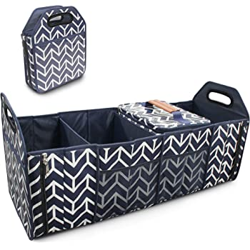 Trunk Organizer, Foldable Cargo Storage Bag Portable Insulation Cooler Bag Collapsible Vehicle Organizer Divider Storage Totes with 4 Compartments Cargo Tote for Groceries Caddy SUV