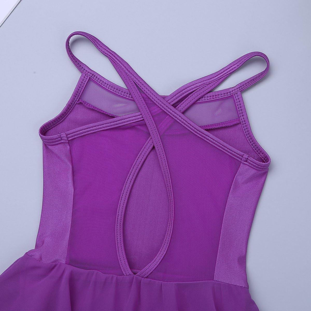 YONGHS Kids Girls Mesh Splice Spaghetti Shoulder Straps Cutout Back Irregular Hem Dance Leotard Dress Modern Dancewear