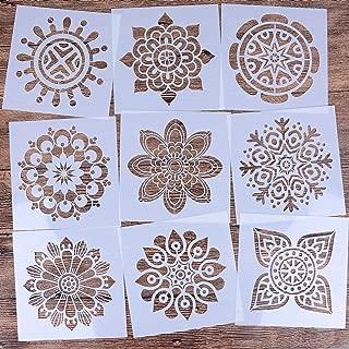 LOCOLO Reusable Mandala Floor Stencil Set of 9 (6 x 6 inch) Painting Stencil, Laser Cut Painting Template Floor Wall Tile Fabric Wood Stencils?DIY Decor