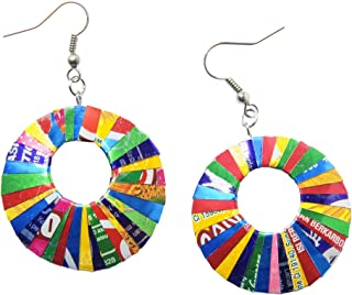 Earrings in Circle Shape Made of Soda Can Prime Handmade from recycle upcycled material eco friendly boho art jewelry design unique uncommon gift idea for cool vegan mom wife girlfriend woman ladies