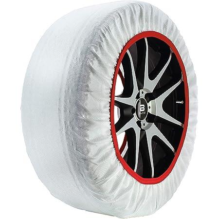 Chaussette neige textile pneu 185//60R15 excellente protection de la jante Valise comprenant 2 chaines textile et 1 paire de gants