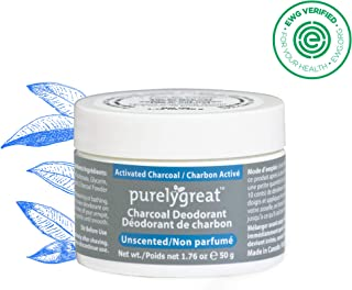 Natural Deodorant with Activated Charcoal Powder   For Men & Women   Long-Lasting, EWG Verified, Vegan, Aluminum Free, Cruelty-Free, No Aluminum, No Parabens, BPA Free   Unscented by Purelygreat