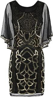 kayamiya Women's Flapper Dress 1920s Sequin Deco Cocktail Gatsby Dress with Cape