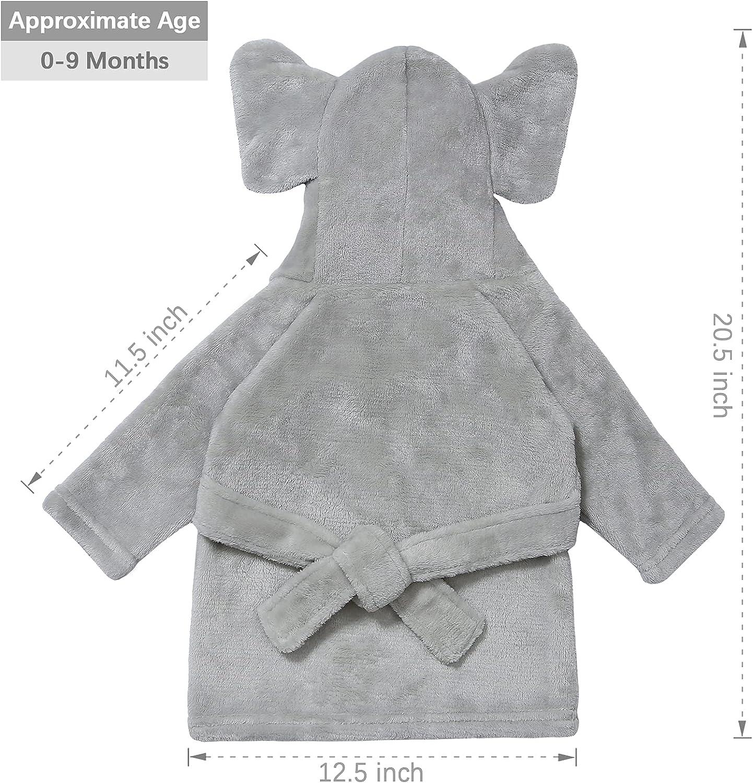 Pro Goleem Unisex Baby-Robe Soft Plush Hooded Bathrobe for Newborn Baby Gifts, One Size, 0-9 Months