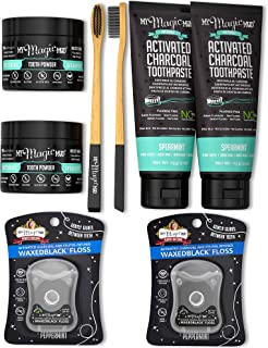 My Magic Mud - Activated Charcoal Duo Teeth Whitening Kit, Toothpaste, Tooth Powder, Bamboo Toothbrush & Floss (Spearmint)