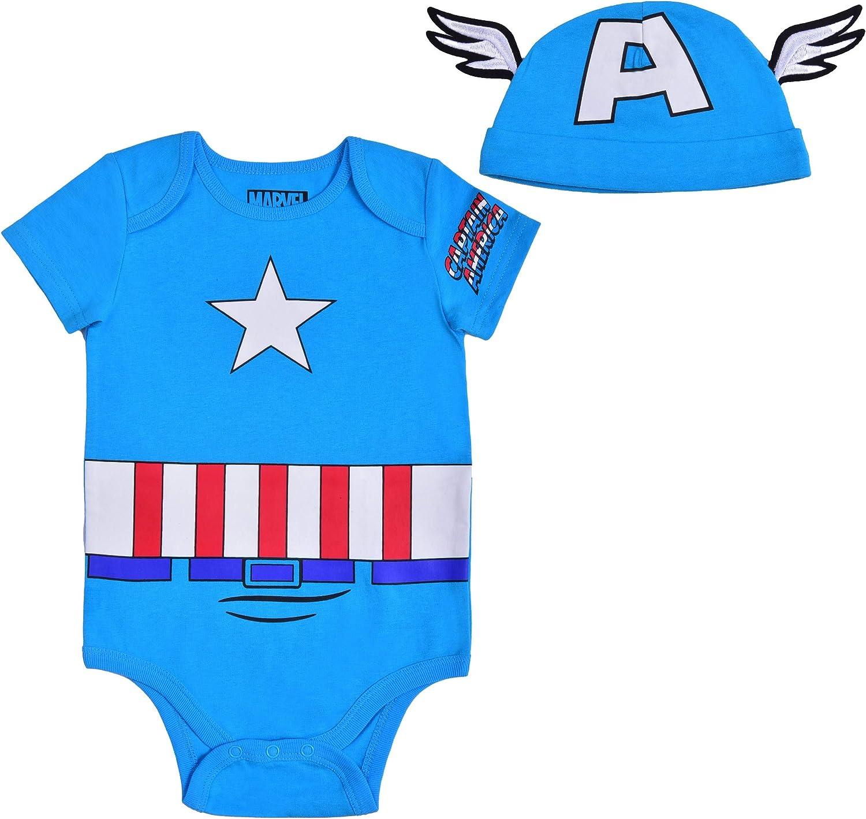Avengers Short Sleeve Boys Thor, Spiderman, Ironman, Hulk, Captain America Creeper with Cap, Baby Romper
